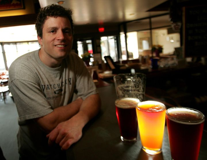 WALTHAM, MA - MAY 11: Aaron Mateychuk, master brewer at Watch City Brewery in Waltham,  proudly displays Indian Pale Ales, left to right, Red, American and Dunkel Weizen. (Photo by Essdras M Suarez/The Boston Globe via Getty Images)