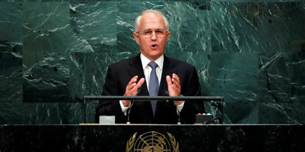 Australia's Prime Minister Malcolm Turnbull addresses the United Nations General Assembly in New