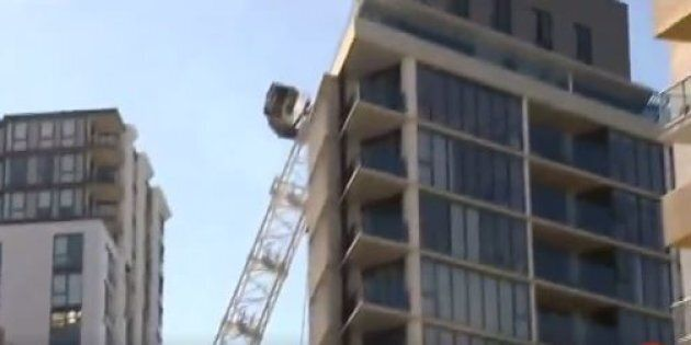 The crane collapsed into an apartment block in Sydney around 9.30am on