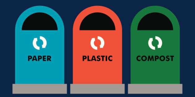 Paper, plastic and compost recycling bins in a