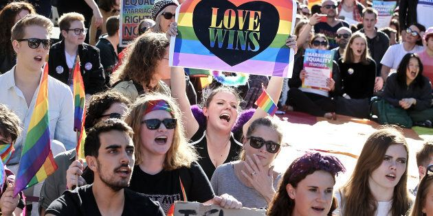 Marriage Equality Rally from the Town Hall to Taylor's Square, Oxford St on August 6, 2017 in Sydney,