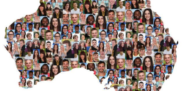 Australia map multicultural group of young people integration diversity