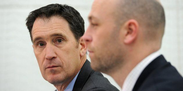 Cricket Australia CEO James Sutherland (L) and Australian Cricketers' Association CEO Alistair Nicholson attend a press conference in Melbourne on August 3, 2017.
