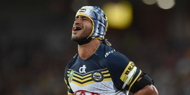 BRISBANE, AUSTRALIA - SEPTEMBER 12: Johnathan Thurston of the Cowboys looks dejected during the NRL Qualifying...