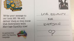 Marriage Equality Postcards Delivered To MPs On Eve Of Parliament
