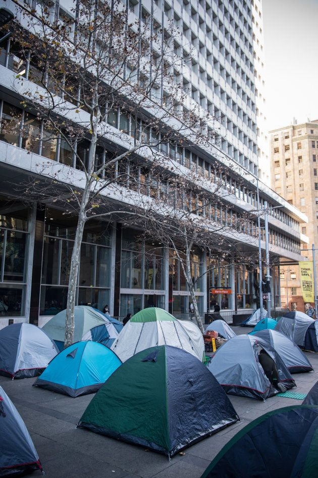 Tents set up at the safe space for homeless in Martin Place, Sydney. 25th July 2017, AFR, Photo: Wolter