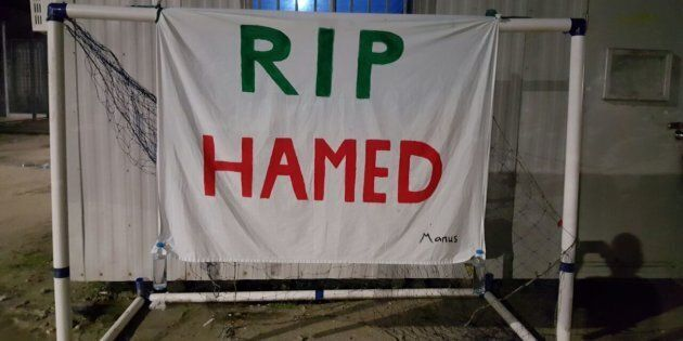 Days after the death of Hamed Shamshiripour on Manus island, friends and fellow asylum seekers held a...