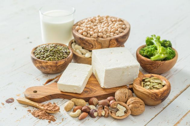Tofu, legumes, nuts and seeds are high in plant-based protein.