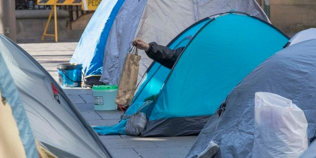 Tent city in front of the Reserve Bank of Australia HQ in Martin Place may be demolished. Photo Michele