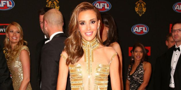 MELBOURNE, AUSTRALIA - SEPTEMBER 28:  Rebecca Judd arrives at the 2015 Brownlow Medal at Crown Palladium on September 28, 2015 in Melbourne, Australia.  (Photo by Scott Barbour/Getty Images)