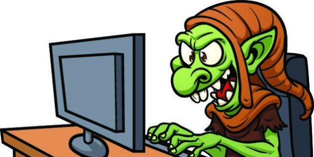 Internet troll using a computer. Vector illustration wit simple gradients. All in a single