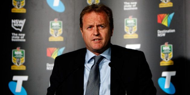 SYDNEY, AUSTRALIA - SEPTEMBER 08: NRL CEO Dave Smith addresses the media during the 2014 NRL Finals series...
