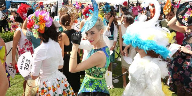 MELBOURNE, AUSTRALIA - NOVEMBER 04: Myer Fashions on the Field entrants line up in the Fashion on the...