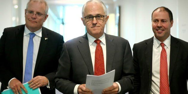 Treasurer Scott Morrison, Prime Minister Malcolm Turnbull and Minister for Environment and Energy Josh...