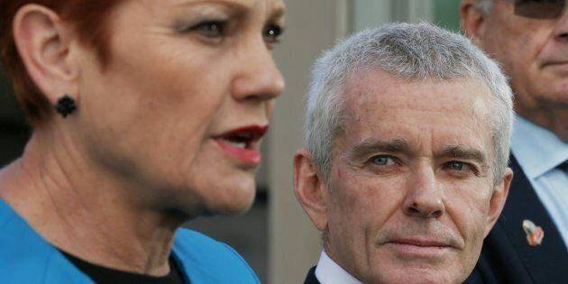 Senator Malcolm Roberts and Senator Pauline Hanson at Parliament House.