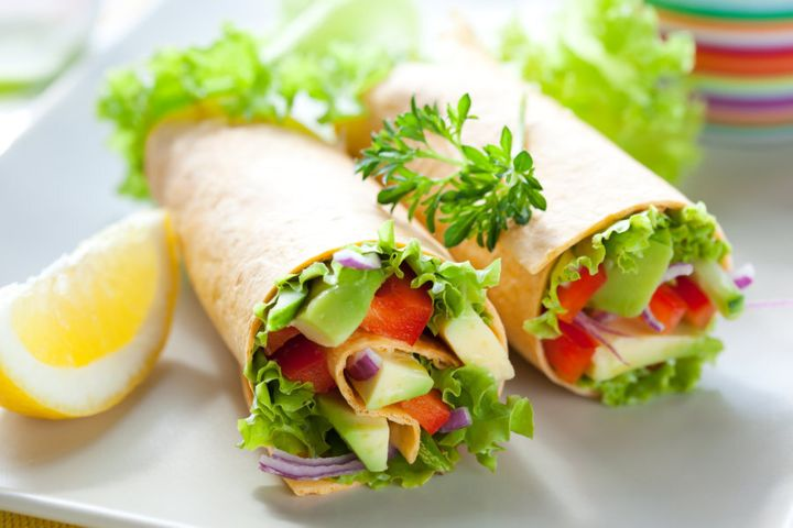 Fill your whole grain wraps with lots of veggies.