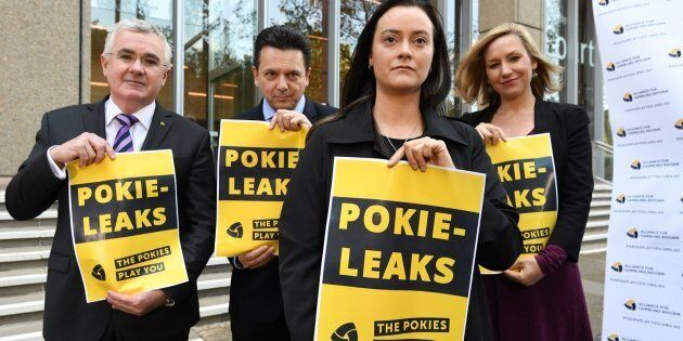 Wilkie, Xenophon, former pokie machine victim, Shonica Guy and