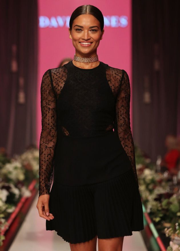Shanina Shaik walks the runway in a design by Rebecca Vallance during the David Jones Spring Summer 2017 Collections Launch.