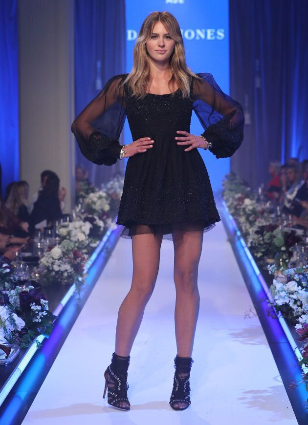 Jesinta Franklin walks the runway in a design by Aje during the David Jones Spring Summer 2017 Collections