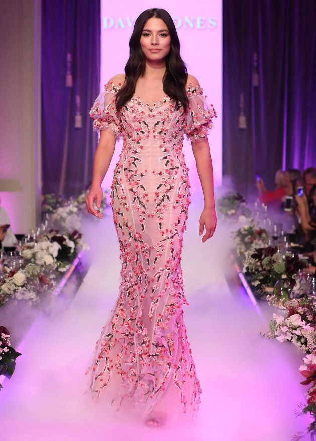 Jessica Gomes walks the runway in a design by Rachel Gilbert during the David Jones Spring Summer 2017 Collections Launch