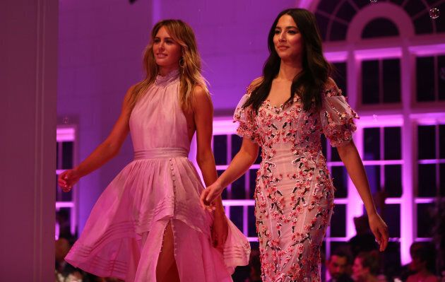 Jesinta Franklin in Aje and Jessica Gomes in Rachel Gilbert walks the runway during the David Jones Spring...
