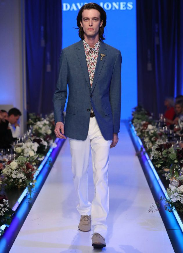 A model walks the runway in a design by Calibre during the David Jones Spring Summer 2017 Collections Launch