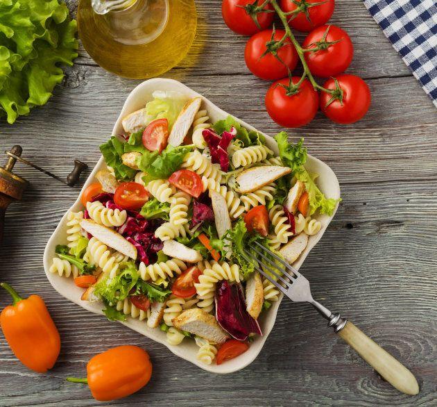 Make a quick chicken pasta salad using leftover roast chicken.