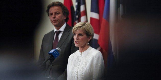 Australian Foreign Minister Julie Bishop speaks during a press conference after the Security council...