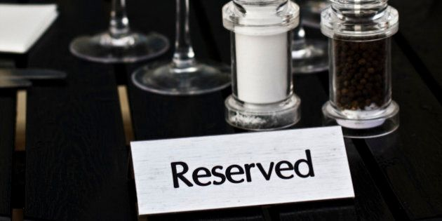 reserved table in the restaurant of bar