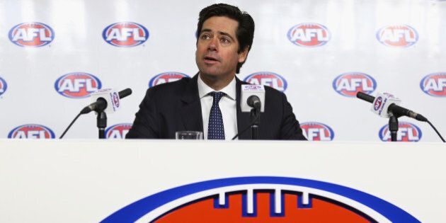 MELBOURNE, AUSTRALIA - JULY 03: AFL CEO, Gillon McLachlan speaks to media during a press conference at...