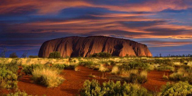 View at Ayers Rock at sunset, Northern Territory,