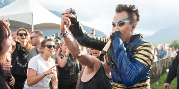 PEMBERTON, BC - JULY 18: Luke Steele of Empire of the Sun perform at the Pemberton Festival on July 18,...