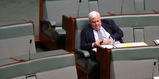 CANBERRA, AUSTRALIA - FEBRUARY 23:  Clive Palmer during House of Representatives question time at Parliament House on February 23, 2015 in Canberra, Australia.  (Photo by Stefan Postles/Getty Images)