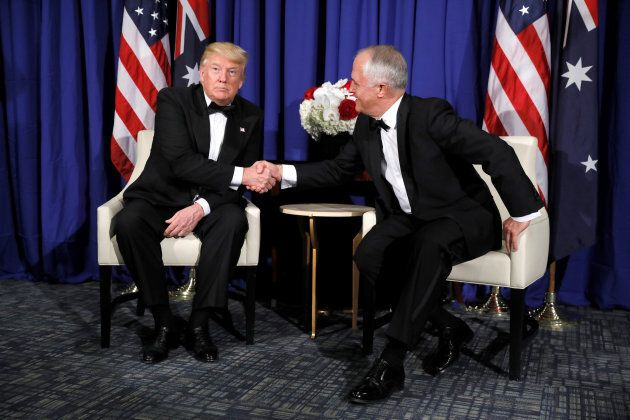 U.S. President Donald Trump meets with Australia's Prime Minister Malcolm Turnbull ahead of an event...