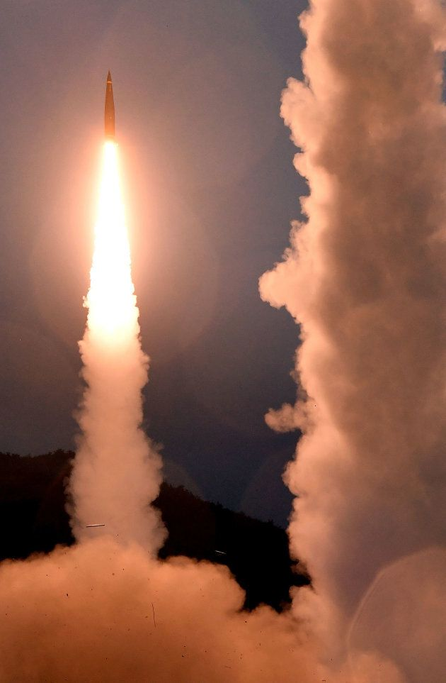In this handout photo released by the South Korean Defense Ministry, South Korea's missile system firing...