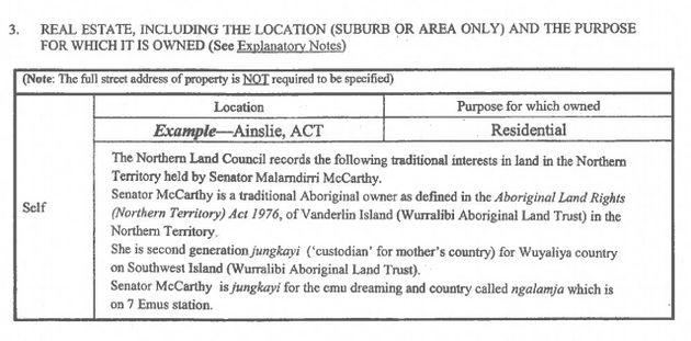 The real estate of Labor Senator Malarndirri