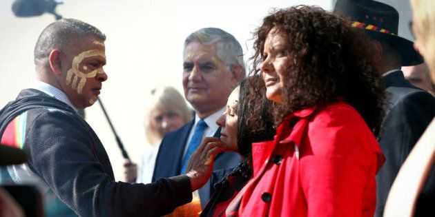 Ken Wyatt, Linda Burney and Malarndirri McCarthy during the welcome to country ceremony on the forecourt...