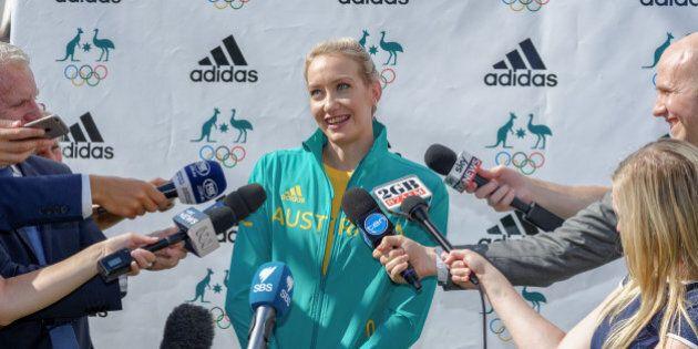 BONDI, SYDNEY, AUSTRALIA - 2016/04/19: Australian Olympic Swimmer Madison Wilson speaks to the media...