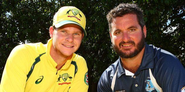 PERTH, AUSTRALIA - JANUARY 10: Kurt Ramponi and Steven Smith pose during the Victoria Bitter ODI series...