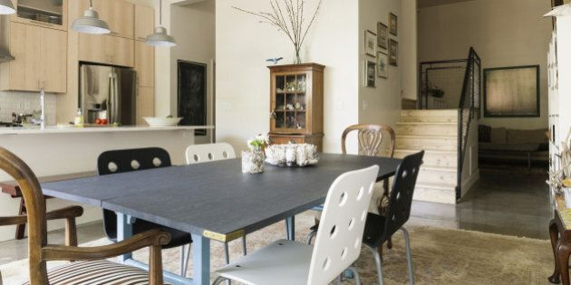 Dining table and chairs in modern living