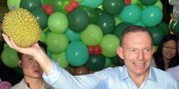 Australian Prime Minister Tony Abbott holds up a durian as he visits Singapore's Bishan Park on Sunday,...