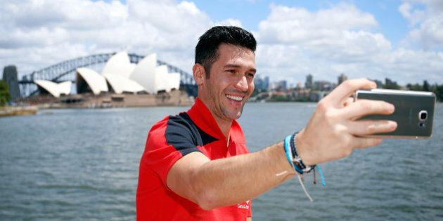 SYDNEY, AUSTRALIA - JANUARY 07: Luis Garcia takes a selfie in Sydney Harbour on January 7, 2016 in Sydney,...