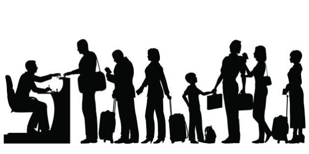 Editable vector silhouettes of a queue of people at an immigration desk with all figures and luggage...