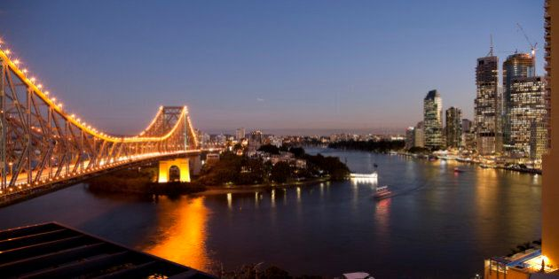 Story Bridge, Kangaroo Point, Brisbane River and city centre at night, Brisbane, Queensland, Australia,