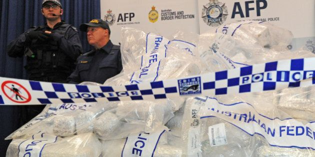 Australian Federal Police (AFP) guard 525 million USD worth of crystal methamphetamine ('ice') and heroin...
