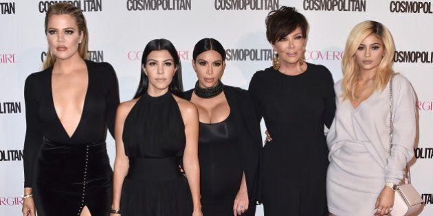 Khloe Kardashian, from left, Kourtney Kardashian, Kim Kardashian, Kris Jenner and Kylie Jenner arrive...