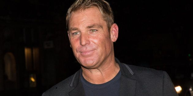 Shane Warne leaves the Class of 2005 Ashes Reunion in London, Tuesday, July 14, 2015. (Photo by Vianney...