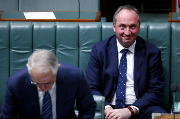 Deputy Prime Minister Barnaby Joyce and Prime Minister Malcolm Turnbull during Question Time