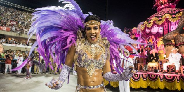 RIO DE JANEIRO, BRAZIL - FEBRUARY 08: Performers dances during Salgueiro performance at the Rio Carnival...
