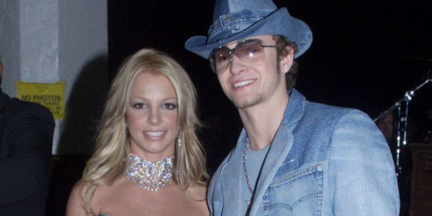 Singer Britney Spears and boyfriend Justin Timberlake of the group 'N Sync arrive at the 28th Annual...